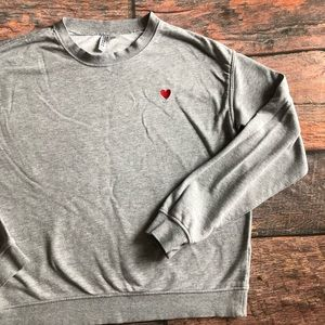 Divided Embroidered Heart Sweatshirt size M